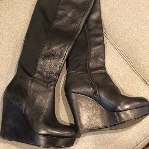 Aldo High Black Leather Wedge ZIP up boot